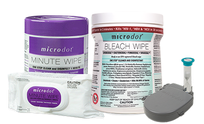 microdot ® Minute WIpes, microdot ® Bleach wipes, and microdot ® Disinfection kit.