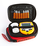 Microdot ® accessories including Orange Case, microdot ® Orange protective cover, and microdot ® disinfection case and timer.